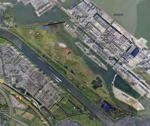 Locatiekaartje sportpark. De blauwe circel toont de plaats van de 62 parkeerplekken.
